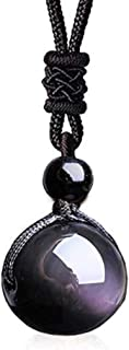 Rainbow Eye Obsidian Stone Necklace Unisex Crystal Pendant Black Bead With Woven Cotton Cord