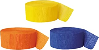 Andaz Press Crepe Paper Streamer Hanging Party Decorations Kit, 240-Feet, Yellow, Orange, Royal Blue, 1-Pack, 3-Rolls, Colored Boy Birthday Supplies, Construction Dinosaur Themed Party