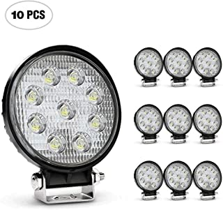 Nilight Led Light Bar 10 Pack 4.5inch 27w 3000LM Round Flood Light Pod Off Road Fog Driving Roof Bar Bumper for Jeep SUV Truck Hunters