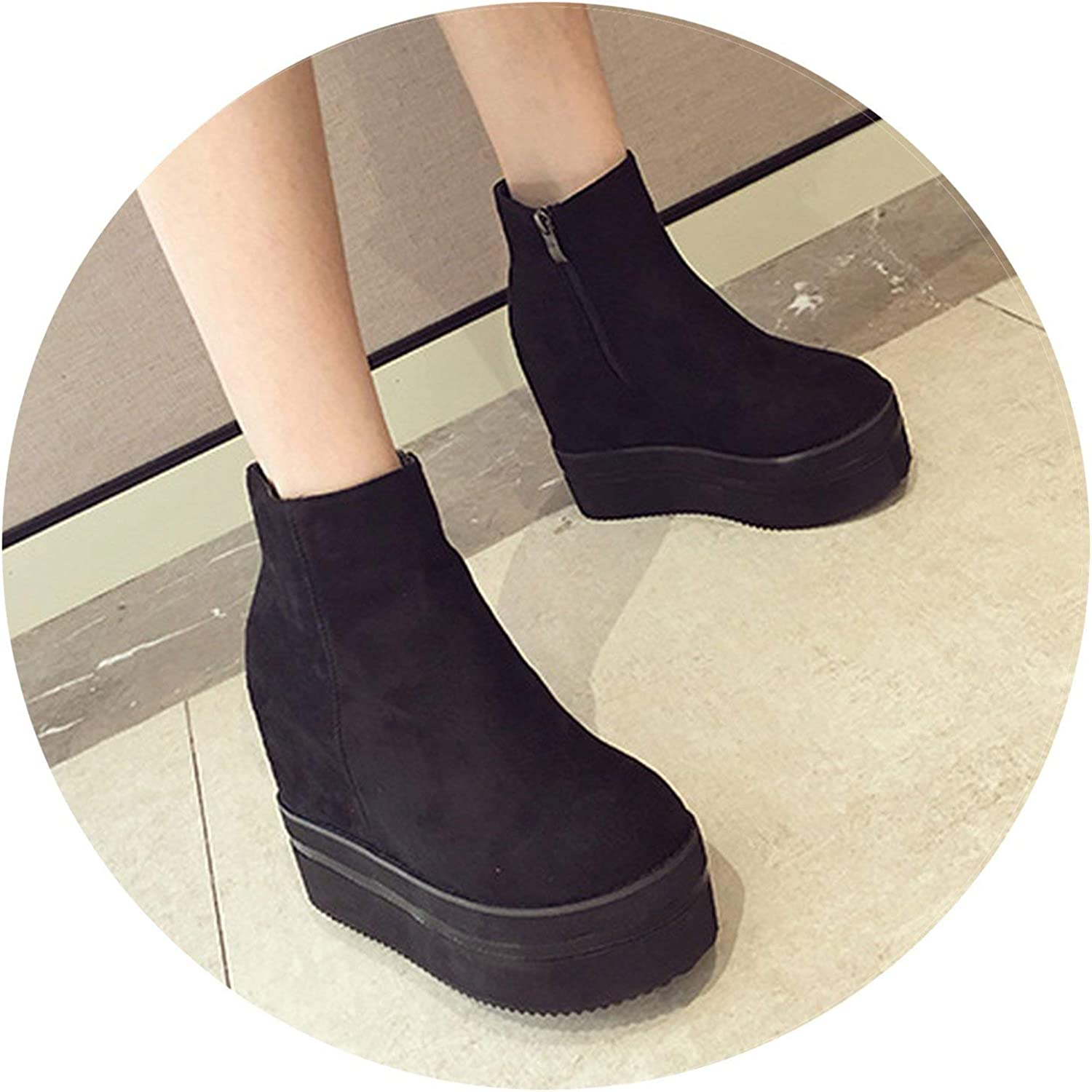 Wedges Platform Women shoes Autumn Ankle Boots Height Increasing High Heels Suede shoes