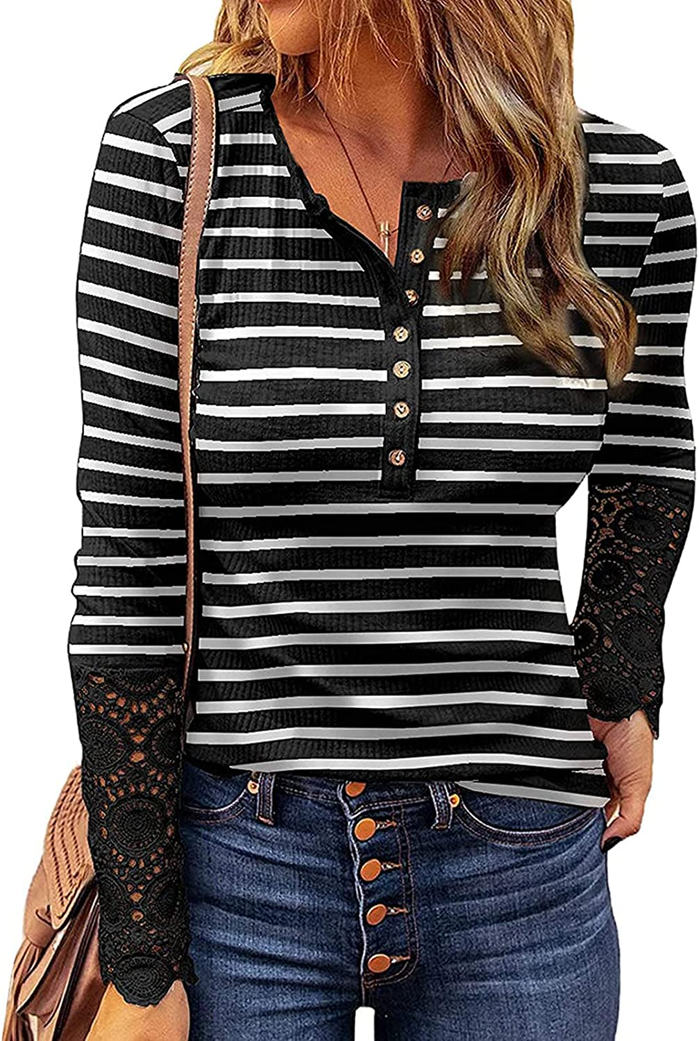 Kancystore Women's Long Sleeve Tops Lace V Neck Button Down Henley Shirts Blouses