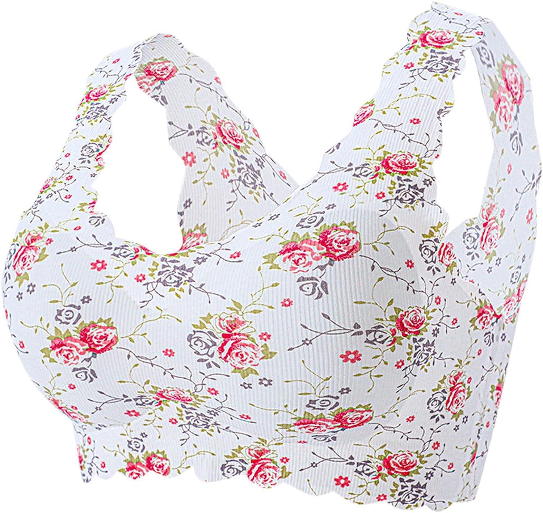 Intimates for Women, Women's Sexy Plus-Size Print Unblemished Bra with Ice Silk Floral Bra Underwear