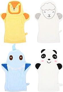 PIXNOR 4pcs Baby Bath Gloves Washcloths Cartoon Animal Style Baby Bathing Glove Sponge Cotton Towel Scrub Shower Wash Mitts for Newborn Toddler Kids Children