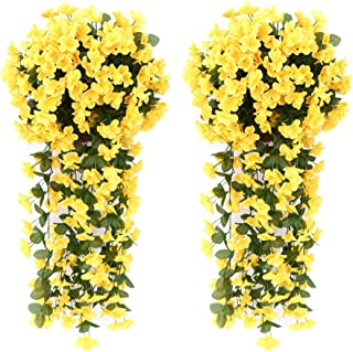 AUKUZI Artificial Violet Ivy Flowers, 2PCS Silk Hanging Basket Lifelike Garland for Home Wedding Garden/Yard String Floral Decoration (Yellow)