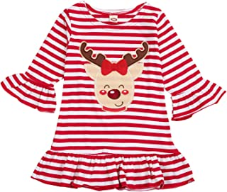 KONIGHT Christmas Kids Little Toddler Baby Girls Xmas Dresses Outfit Long Sleeve Stripe Deer Print Party Dress Clothes Set