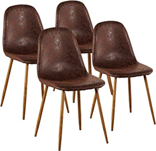 VECELO Chairs, Durable PU Cushion Seat Back Sturdy Metal Legs, Dining/Living Room Chairs Set of 4, Brown