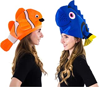 Tigerdoe Fish Hats - Clown Fish Hat - Tropical Fish Hat - Costume Hats - Under The Sea Party Hats (2 Pack) - Shark Hat