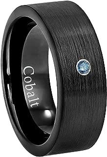 8MM Comfort Fit Brushed Black Ion Pipe Cut Men's Cobalt Chrome Wedding Band - 0.07ct Blue Diamond Cobalt Ring - April Birthstone Ring