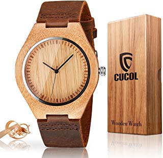 Mens Wooden Watches Brown Cowhide Leather Strap Casual Watch for Groomsmen Gift with Box