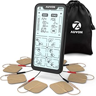 AUVON Dual Channel TENS Unit Muscle Stimulator, 24 Modes Rechargeable Massager Machine with 2nd Gen Capacitive Touch Screen (5.4 Inch) and 8pcs 2