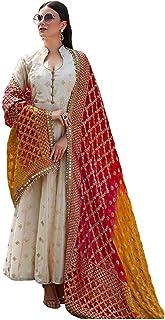 1de1469fa Ghaludi Fab Women's Heavy Chanderi Silk Gown Nazneen With Foil Work Malti  Color Semi stitched Anarkali
