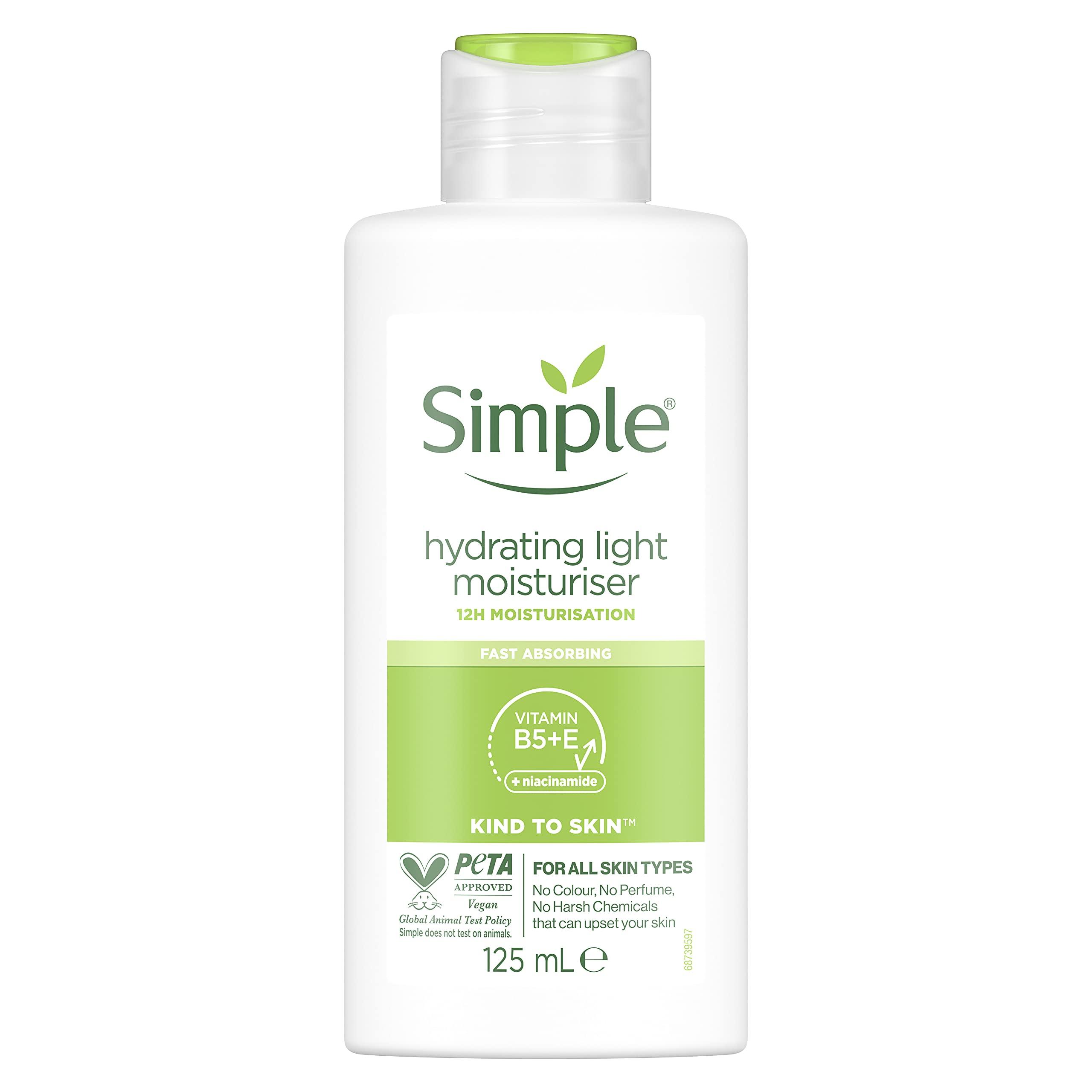 Simple Kind to Skin Hydrating Light UK's #1 Facial Skin Care brand* Moisturiser for 12-hour Moisturisation 125 ml