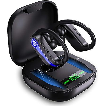 【耳掛けイヤホン】ワイヤレス イヤホン bluetooth 5.1 Hi-Fi高音質 3Dステレオサウンド bluetooth イヤフォン 耳掛け型スポーツイヤホン 特製のシリコンイヤーフック付き フィット感 超軽量痛み無し 40時間連続再生 完全 ワイヤレス イヤホン 左右独立通話可能 運動型 分離型 マイク内蔵 CVC8.0ノイズキャンセリング ブルートゥースイヤホン AAC対応 低遅延 自動ペアリング IPX7防水 瞬時接続 ぶるーとーすイヤホン 運転 テレワーク 通勤通学 ランニング ジム適応