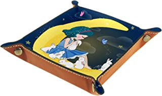 Vockgeng Lapin de Lune Fille Boîte de Rangement Panier Organisateur de Bureau Plateau décoratif approprié pour Bureau à Do...