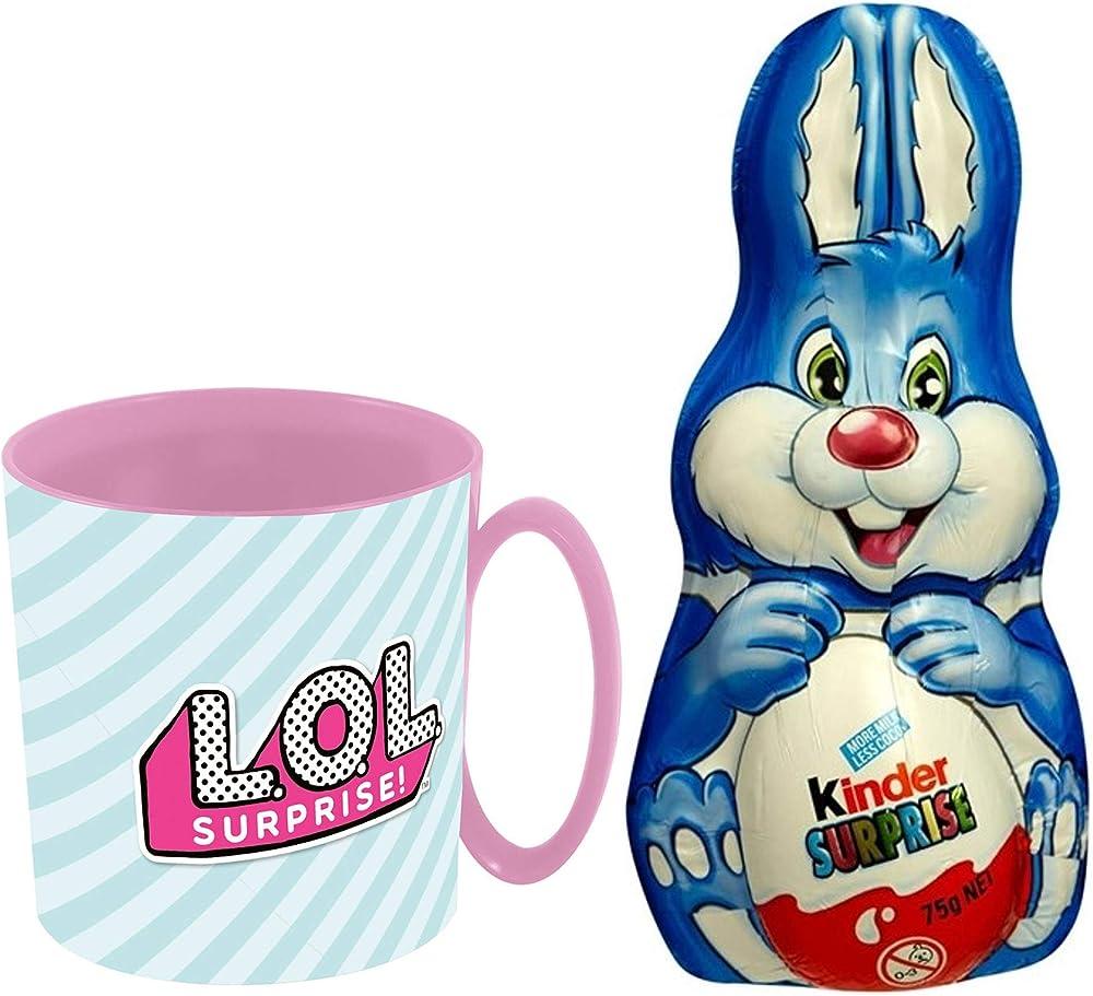 Uovo di pasqua coniglietto kinder surprise, cioccolato al latte 75g, piu` tazza di plastica lol surprise!