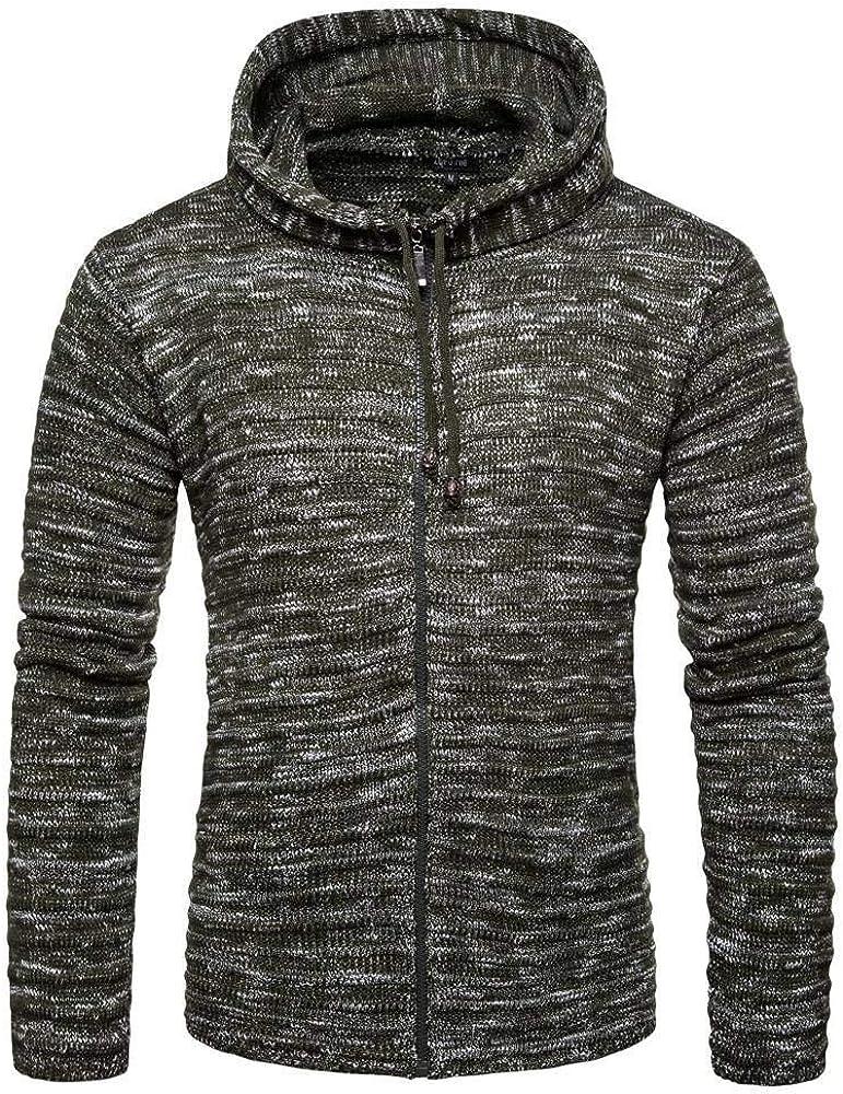 CUIZC Men's Sweater Casual Snowflake Hooded Zipper Knit Cardigan M L XL XXL