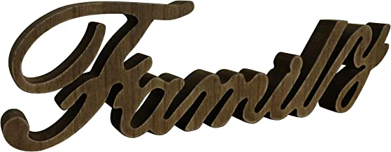 CVHOMEDECO. Rustic Vintage Distressed Wooden Words Sign Free Standing Family Tabletop/Shelf/Home Wall/Office Decoration Ar...