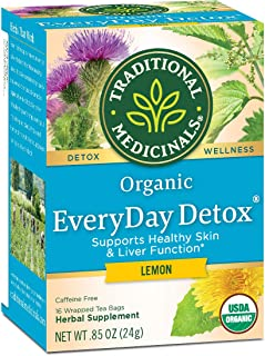 Traditional Medicinals Organic EveryDay Detox Lemon Detox Tea (Pack of 1) Promotes Healthy Skin, Liver and Kidney Function...