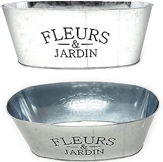 "JGT Mini Metal Farmhouse Oval Shaped Garden Planter (1) ""Fleurs & Jardin'' - 10.5 x 4 Inches"