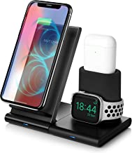 Wireless Charger,3 in 1 Qi-Certified 7.5W Fast Wireless Charging Stand Compatible iPhone 11/11 Pro/11 Pro Max/XS Max/XS/XR/X/8/8+,Charging Dock Organizer Compatible Apple Watch,AirPods-No AC Adapter