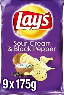 """Lay""""s Sour Cream & Black Pepper - Knusprig gewürzte Kartoffelchips für eine gelungene Party - 9 x 175g"""
