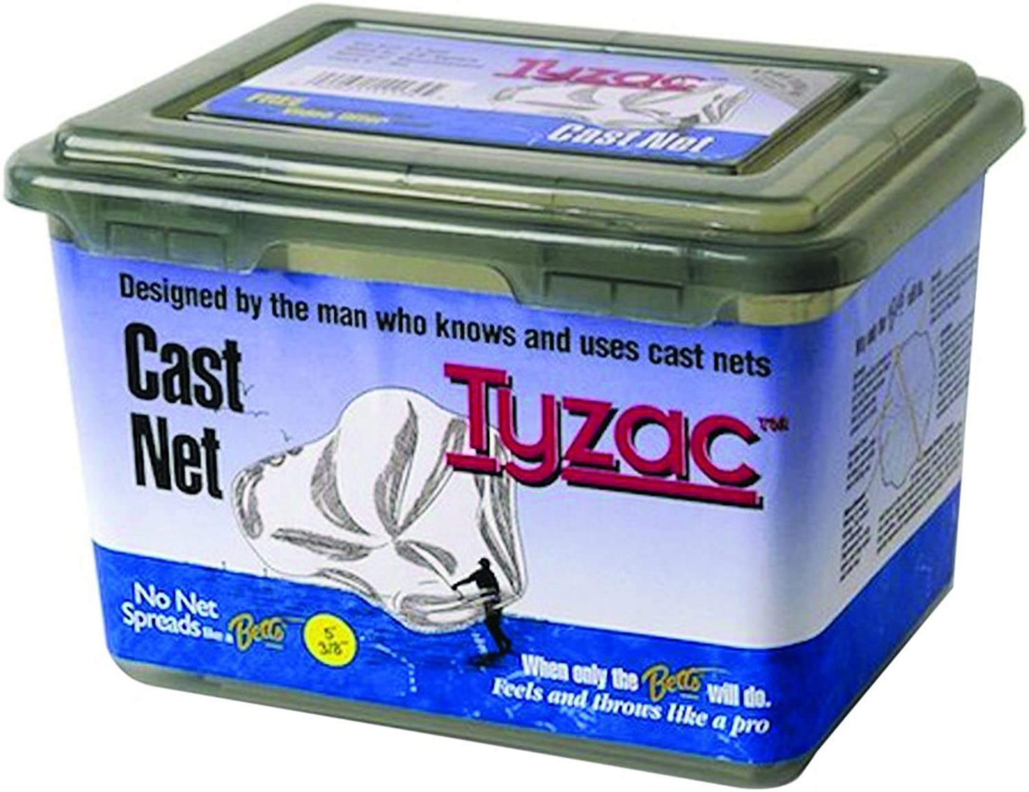 Betts 3Foot Tyzac Nylon Cast Net with Iron Weights, 3 8Inch Mesh, Boxed