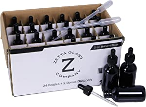 Brilliant Black 2 oz (60 ml) Glass Dropper Bottles - 24 Pack for Essential Oils, Tinctures, Scents, Medicine and More – Not Painted/Coated so Won't Scratch or Chip - 100% UV Protection