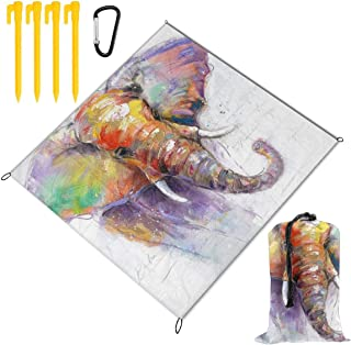 Thailand Elephant Animal Picnic Blanket Mat, Waterproof Foldable Play Mats for Kids, Babies, Families - Protective Beach Blankets for Park, Camping, Yard, Lawn, Sand 78 x 57 inch