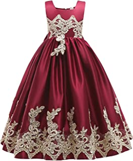 Girls Sleeveless Embroidery Princess Pageant Dresses Kids Prom Ball Gown