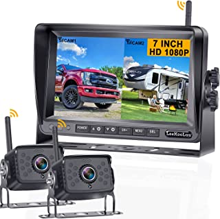 LeeKooLuu F07 HD 1080P RV Wireless Backup 2 Cameras Stable Digital Signals for RVs,Trailers,Bus,Motorhome,5th Wheels with 7'' Monitor High-Speed Observation System IP69 Waterproof