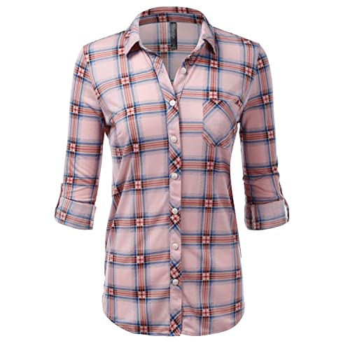 343bf7d9a JJ Perfection Womens Long Sleeve Collared Button Down Plaid Flannel Shirt
