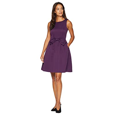 Tahari by ASL Petite Sleeveless Faille Fit and Flare with Bow on Waist (Plum) Women