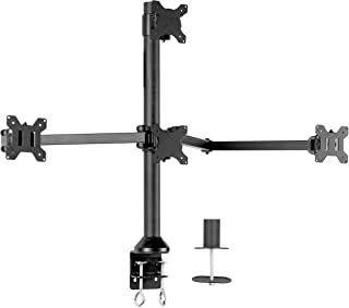 "VIVO Steel Quad LED/LCD Computer Monitor Heavy Duty Desk Mount 3 + 1 Fully Adjustable Stand | Holds Four (4) Screens up to 32"" (STAND-V104A)"