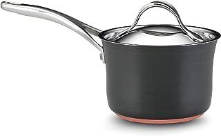 Anolon 82518 Nouvelle Copper Hard Anodized Nonstick Sauce Pan/Saucepan with Lid, 2 Quart, Gray