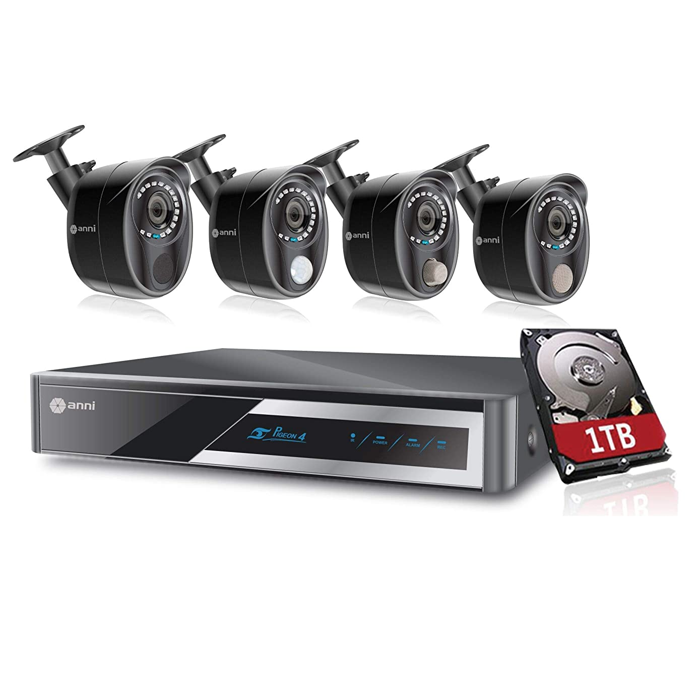 Anni 1080N Digital Video Recorder, CCTV Video Monitoring Surveillance DVR Kit with 1080p Wired Infrared Cameras, Built-in Gas Sensor Alarm, PIR Body Detection, Siren Sounds (8CH 4CAM & 1TB)