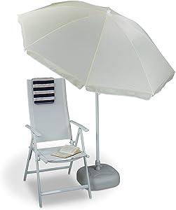 Relaxdays Parasol 180 cm envergure en polyester inclinable jardin balcon terrasse 8 nervures