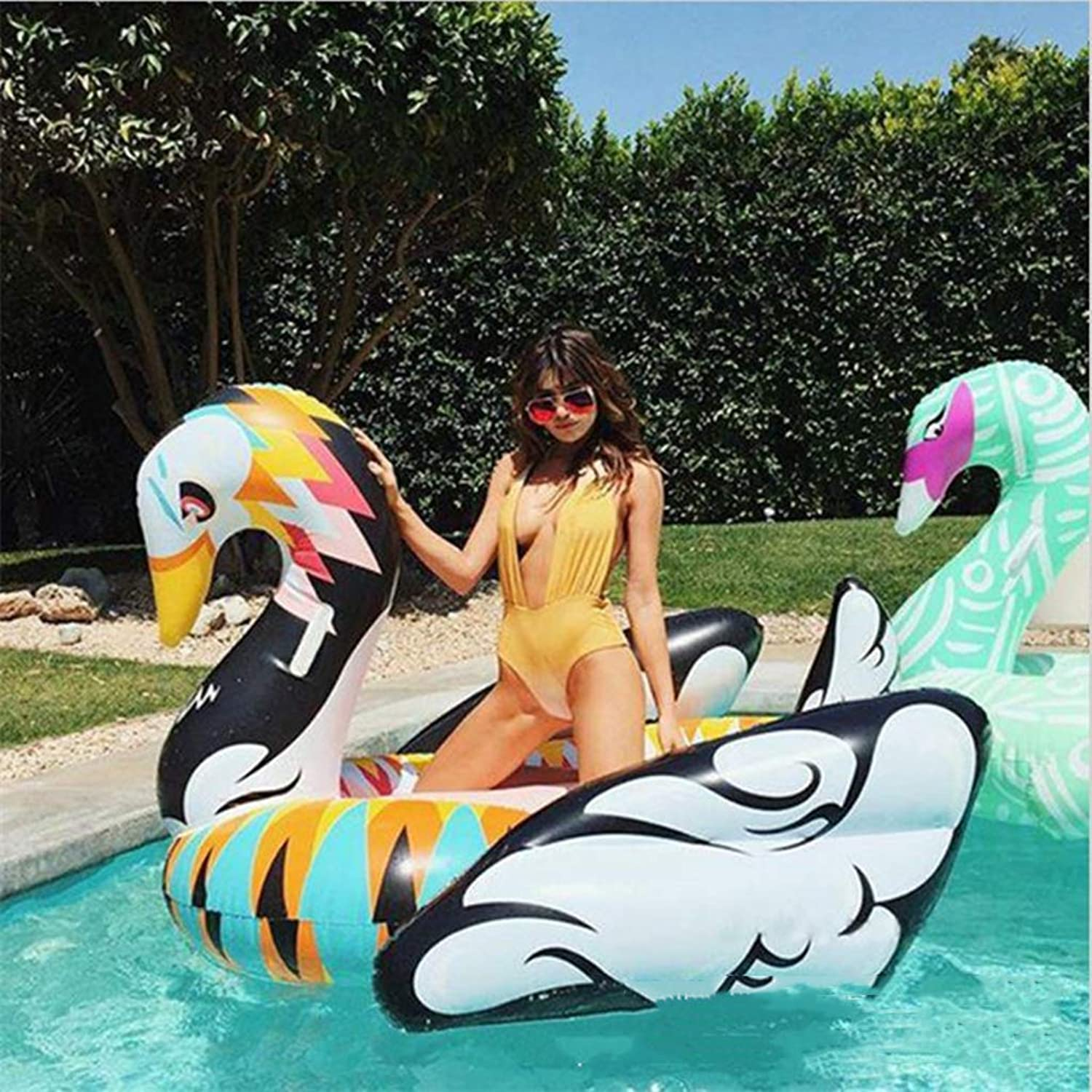 Pool Float Inflatable Pool Toys Giant Black and White golden Swan Floating Island Summer Toy Pool Party Toy with Rapid Valves for Adults and Kids