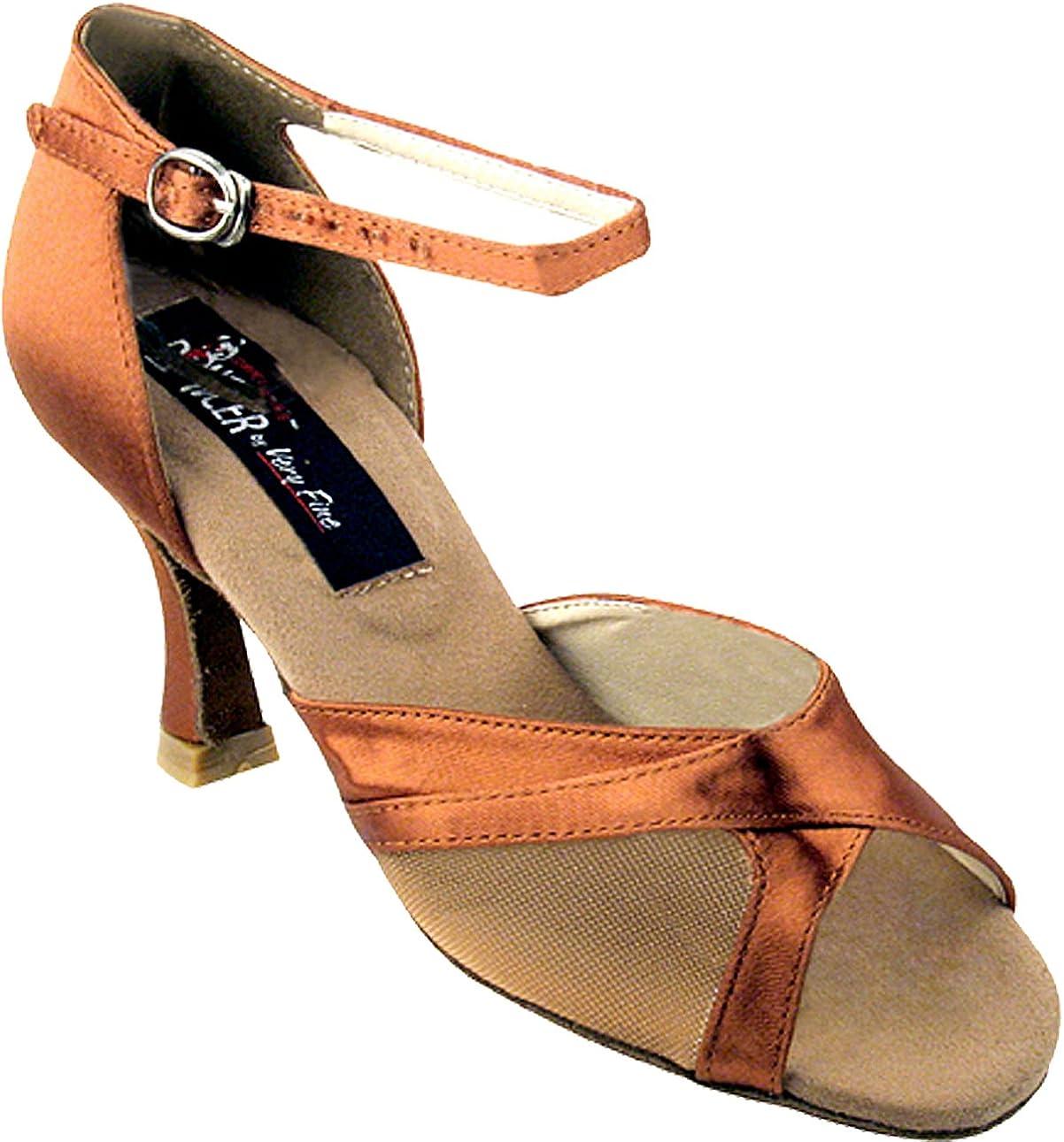 Very Fine Women's Salsa Ballroom Tango Dance Shoes CD2076 Bundle with Back-of-Heel Cushions, Dark Tan Satin 5 M US 3
