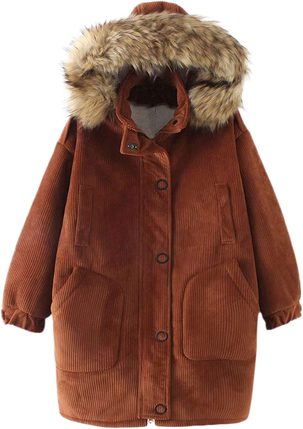 Lentta Womens Casual Loose Thicken Corduroy Fur Neck Trim Hoodie Mid Long Parkas