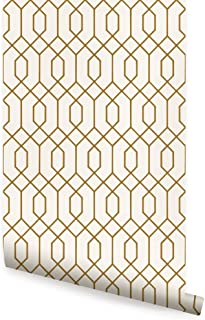 Geometric Hexagon Wallpaper - Peel and Stick - by Simple Shapes (Single Sheet 2ft x 4ft, Gold)