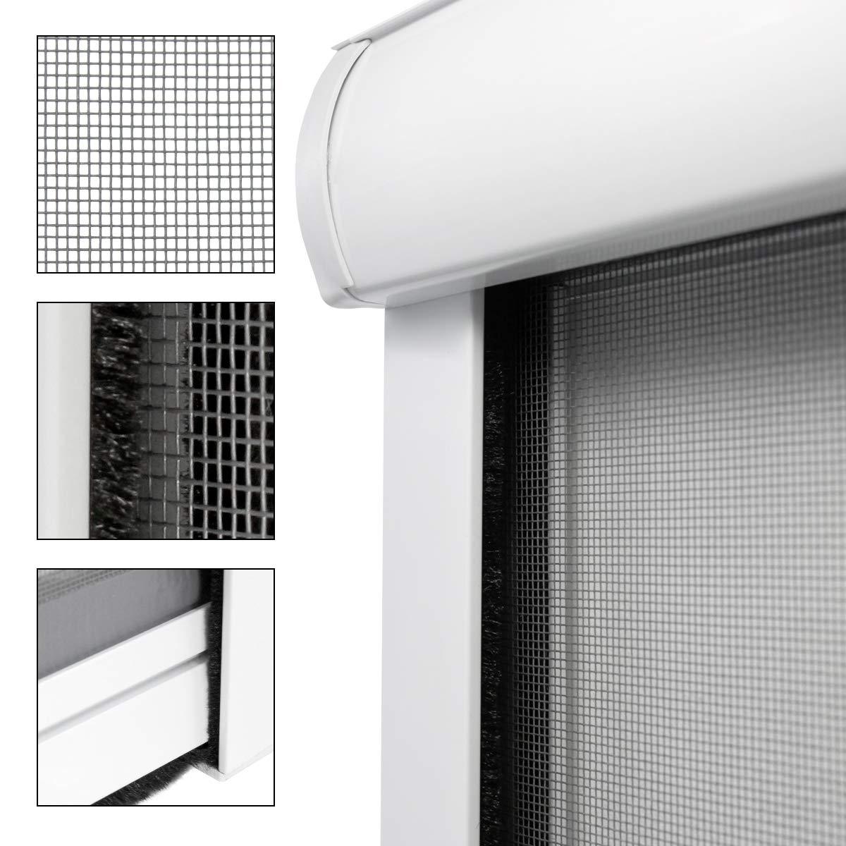 ECD Germany Mosquitera Enrollable para Ventana Color Marco Blanco Resistente a la Intemperie 160 x 160 cm Tela de Fibra de Vidrio Armazón de Aluminio Malla Protectora Hogar contra Insectos Mosquitos: Amazon.es: