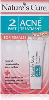Nature's Cure 2 Part Acne Treatment for Females 60 tablets 1 oz Cream (Pack of 4)