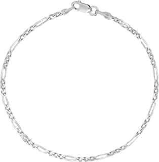 Sterling Silver or Gold Tone Italian Figaro link Chain Necklace Or Anklet Ankle Bracelet(10,11, 18, 20, and 24 inches)