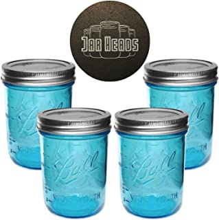 Ball Mason Jars 16 oz Wide Mouth Aqua Blue Colored Glass Bundle with Non Slip Jar Opener- Set of 4 Quart Size Mason Jars - Canning Glass Jars with Airtight Lids