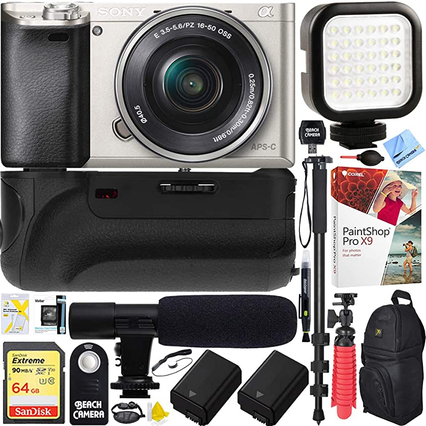 Sony Alpha a6000 24.3MP Silver Interchangeable Lens Camera w/ 16-50mm Power Zoom Lens (ILCE6000L/S) - Battery Grip & Shotgun Mic Pro Video Bundle