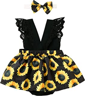 Open Back Laced Sunflower Print Dress Princess Skirt (18 Months-6 years) erthome  Baby Girls Cute Sleeveless Dress