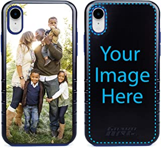 Custom iPhone XR Cases by Guard Dog - Personalized - Make Your Own Rugged Hybrid Phone Case. Includes Guard Glass Screen Protector. (Black, Blue)