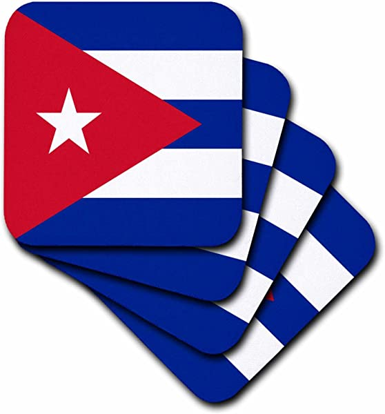 3dRose Cst 158302 2 Flag Of Cuba Cuban Blue Stripes Red Triangle White Star Caribbean Island Country World Flags Soft Coasters Set Of 8