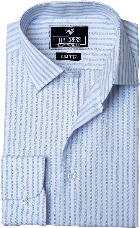 Camisa blanca y azul de los hombres del ajuste delgado del ...