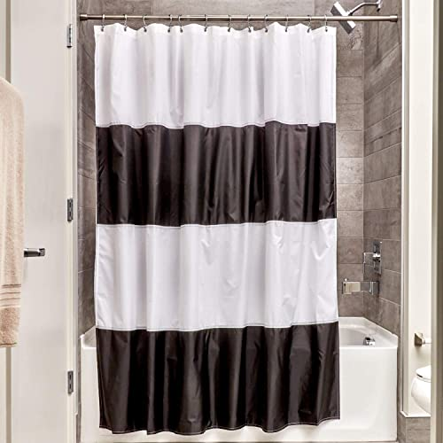InterDesign Free Fabric Inch Black White Zeno Water Repellent Shower Curtain Modern